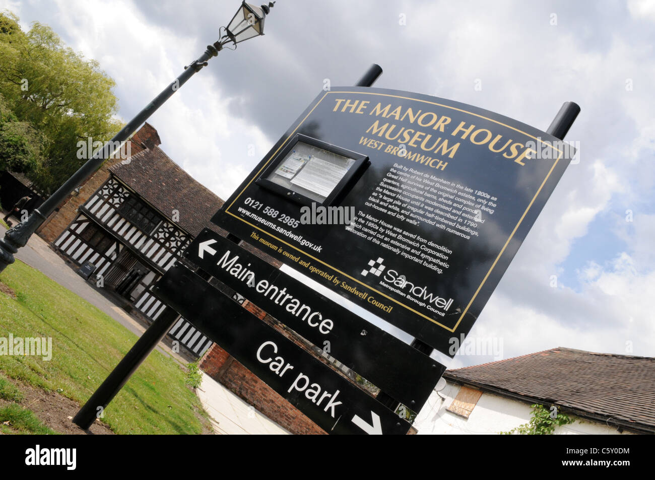 Entrance sign to the historic Manor House Museum run by Sandwell Council - Stock Image
