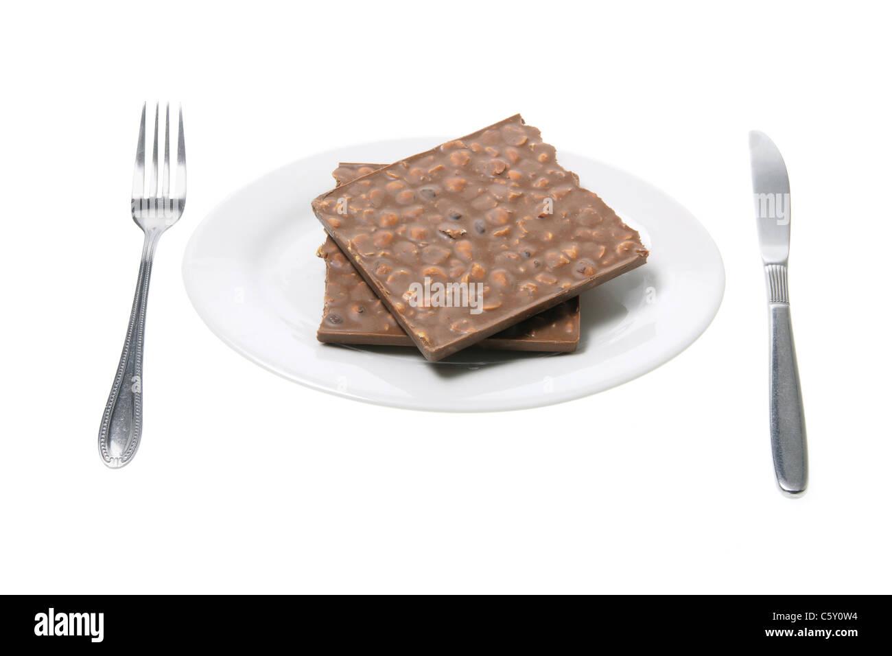 Chocolate Bar on Plate - Stock Image