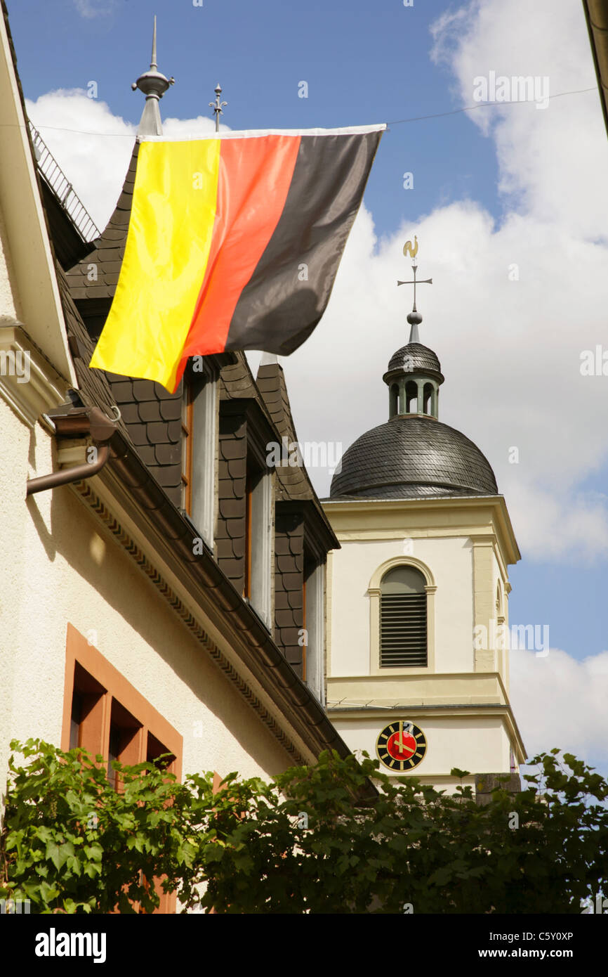 Belltower of church in Kinheim, on the banks of the river Mosel, Rheinland-Pfalz, Germany. - Stock Image