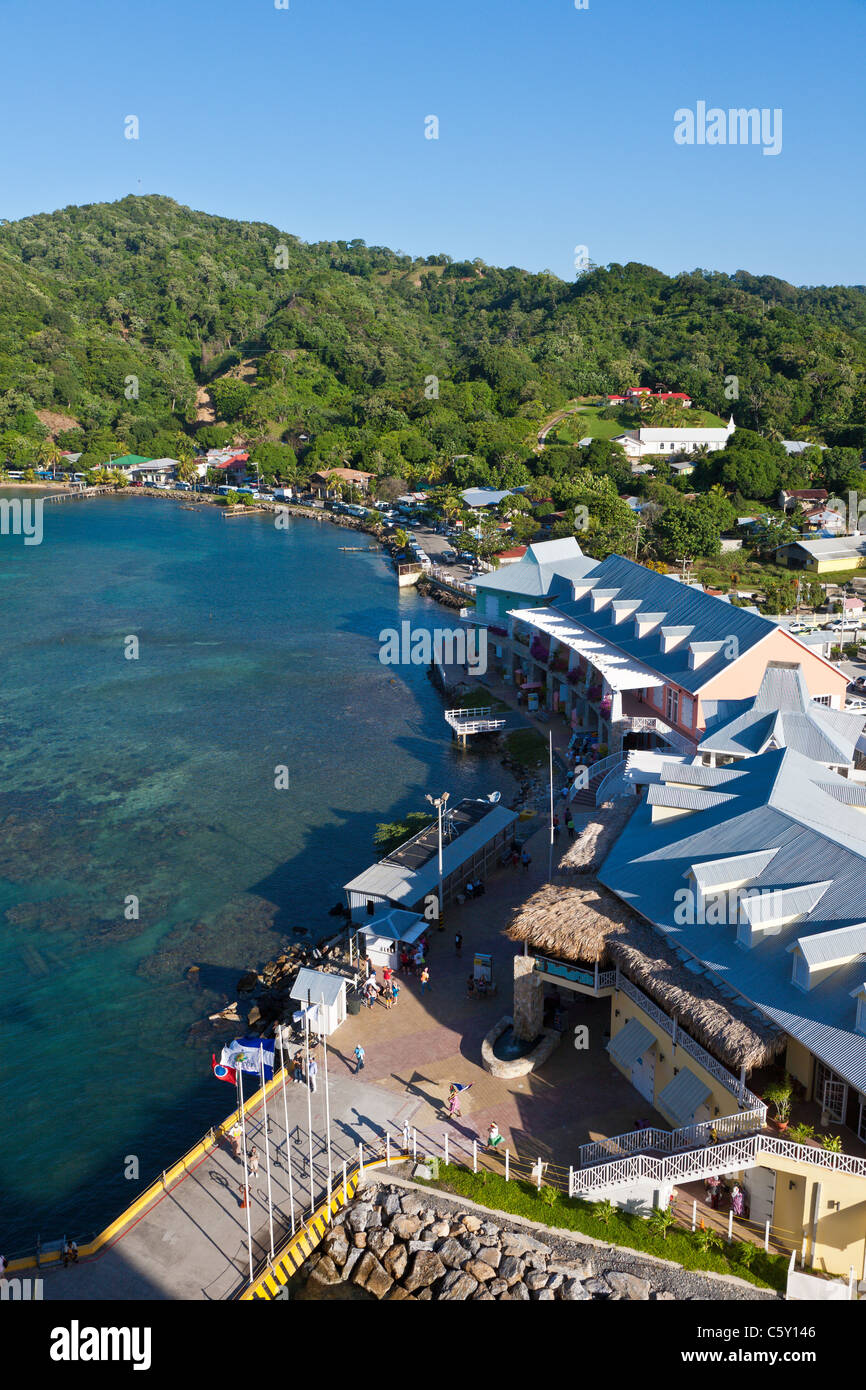 Town Center cruise port and shops at Coxen Hole on the island of Roatan, in Honduras - Stock Image