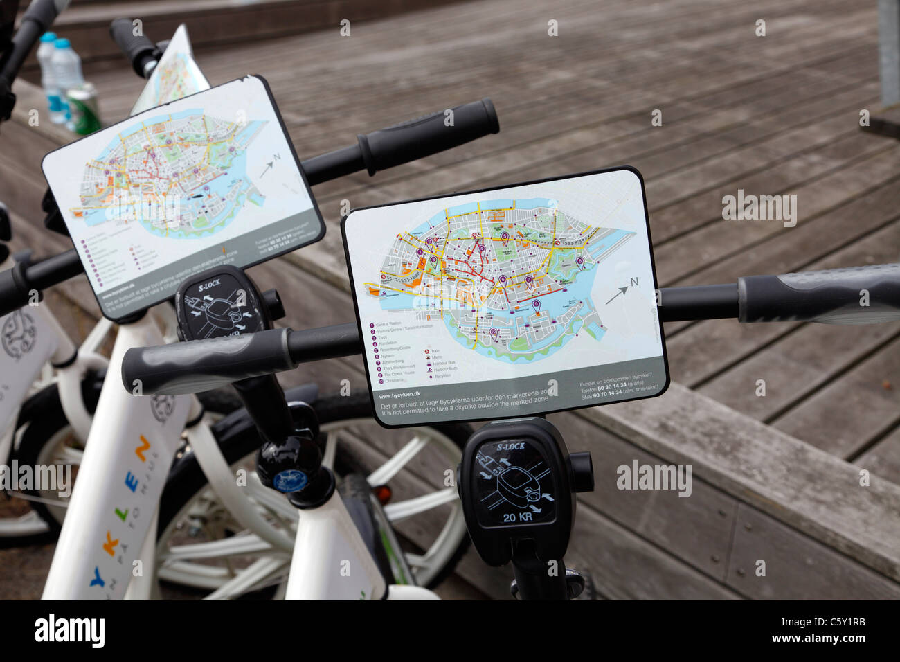 The free citybikes in Copenhagen equipped with a map of Copenhagen also showing the zone in which the free citybike - Stock Image