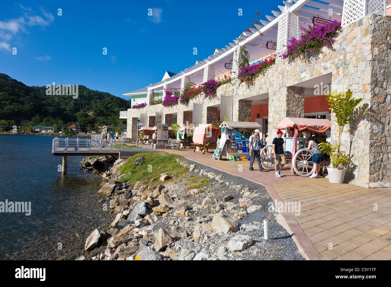 Town Center Cruise Port And Shops At Coxen Hole On The Island Of Stock Photo 38088191 Alamy