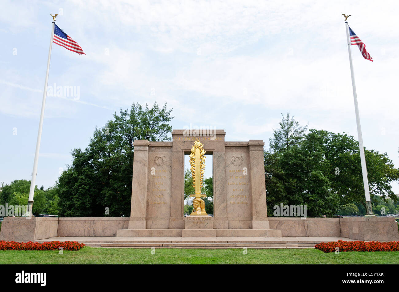 WASHINGTON DC, USA - The Second Division Memorial in the President's Park next to the Ellipse and not far from - Stock Image