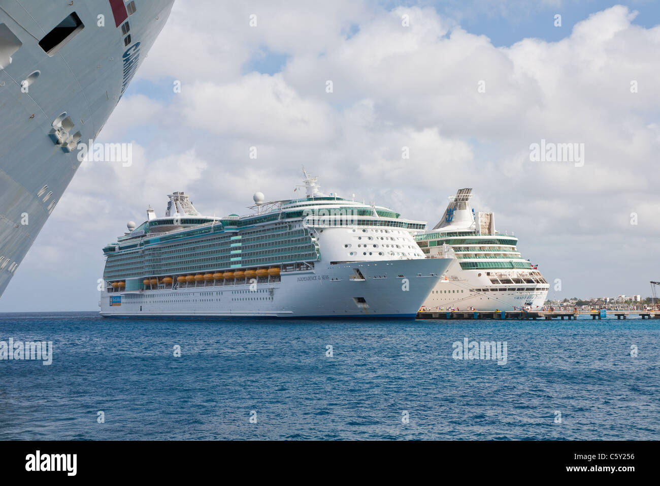 Cruise ships docked in the port at Cozumel, Mexico in the Caribbean Sea - Stock Image