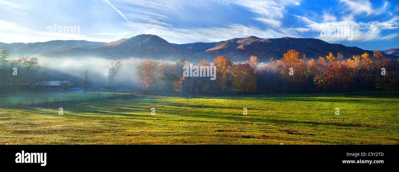 """Cades Cove Morning""""  The break of day is a magical time in Cades Cove, Great Smoky Mountain National Park, TN, especially Stock Photo"""