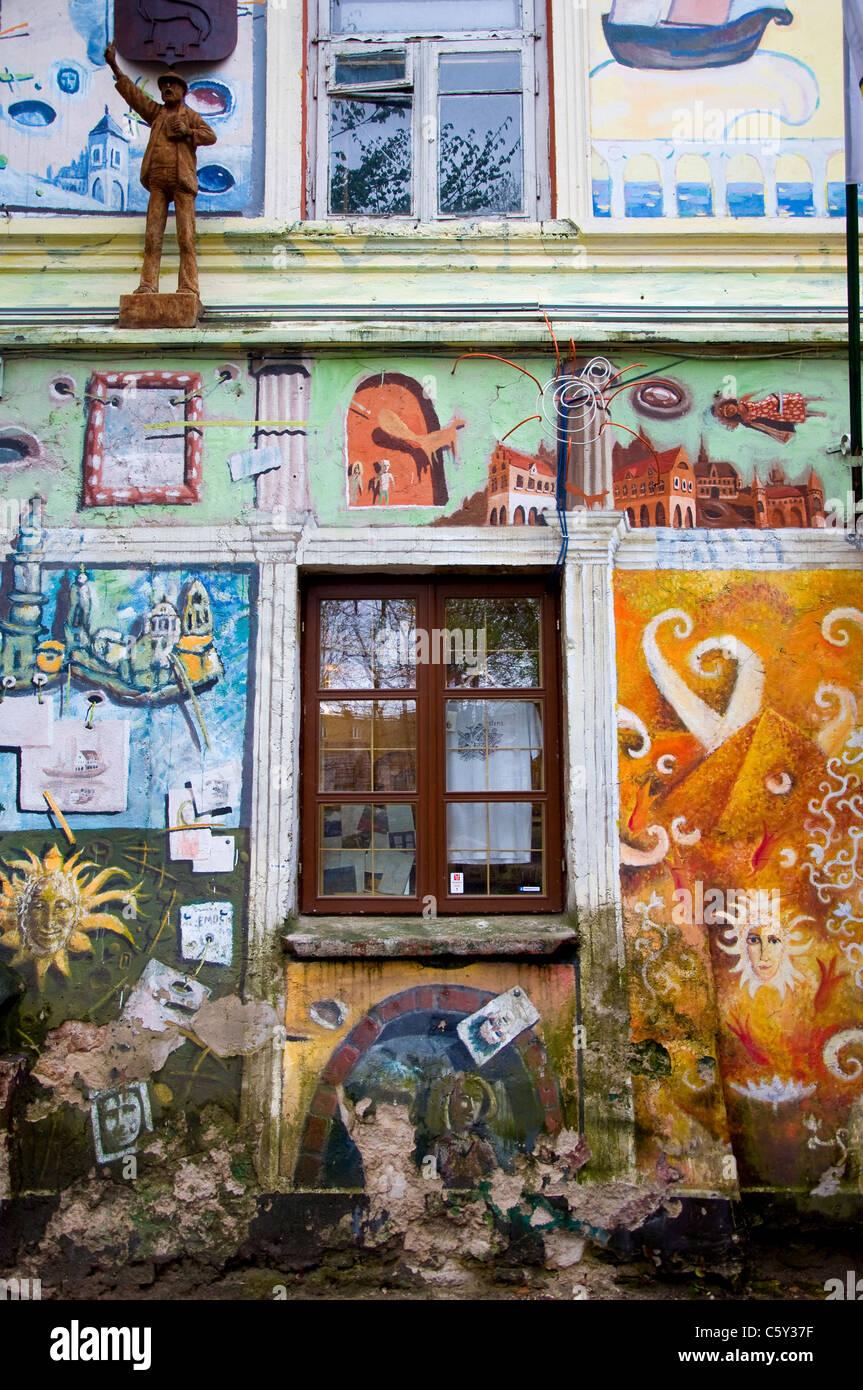 Art Gallery, Uzupis, Vilnius, Lithuania Stock Photo