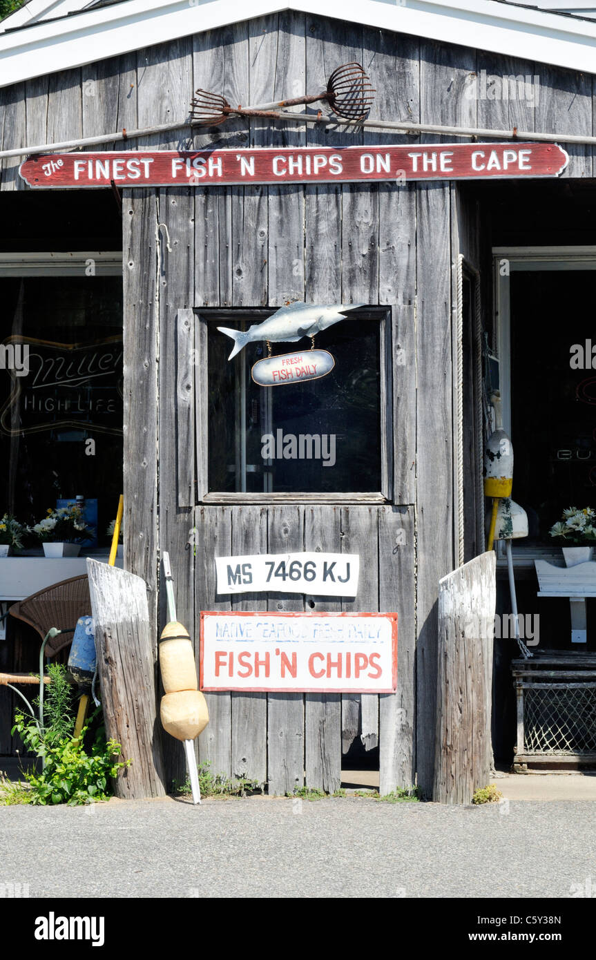 Exterior Of An Old Fashioned Fish And Chips Restaurant On Cape Cod USA