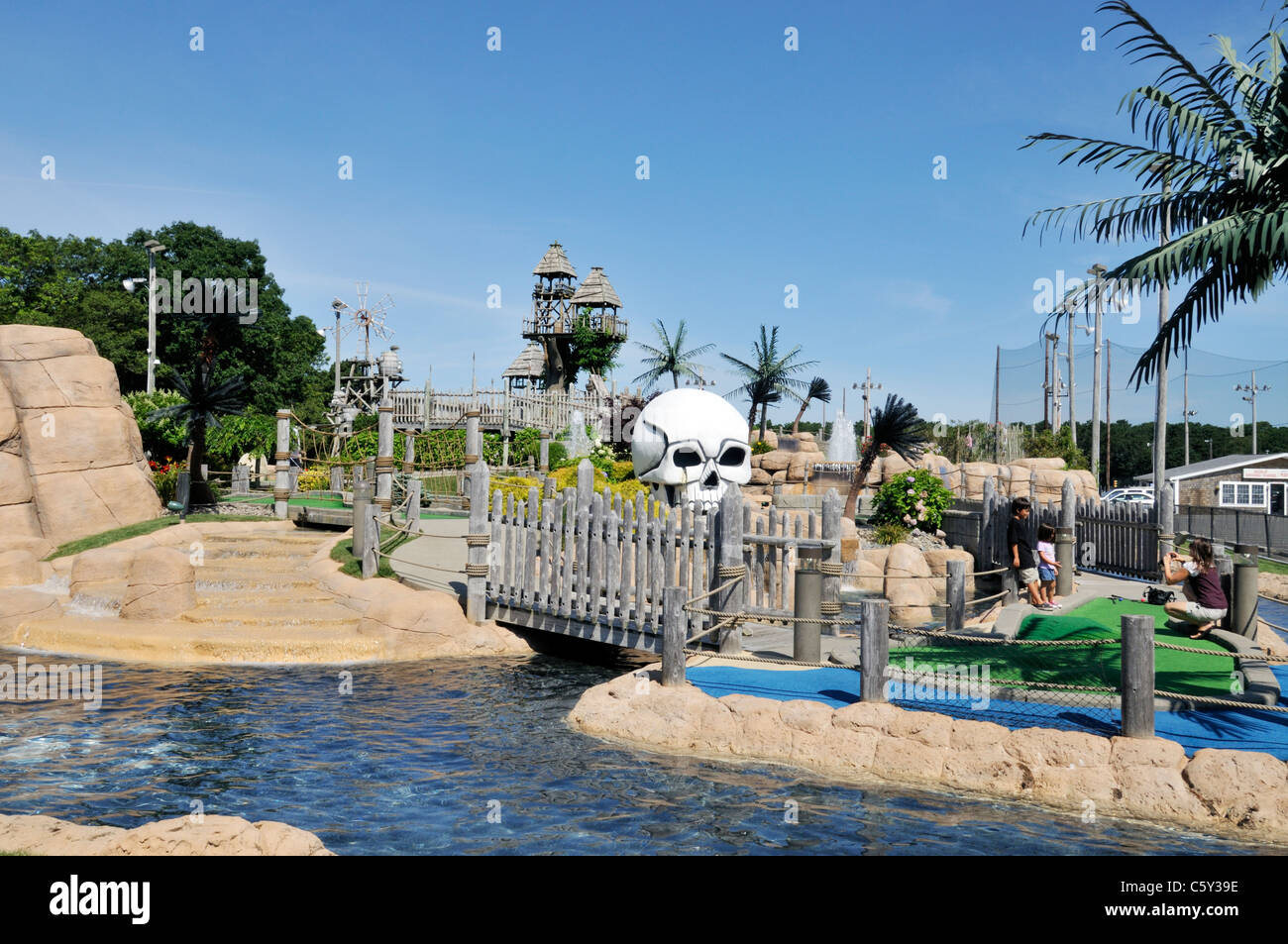 Miniature Golf on Route 28 in Yarmouth, Cape Cod, Massachusetts USA in Summer on a sunny blue sky day Stock Photo