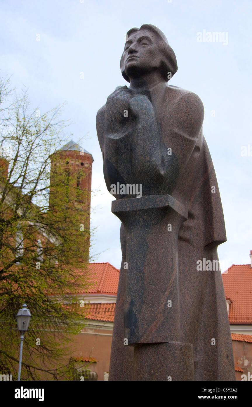 Statue of Adam Mickiewicz, Vilnius, Lithuania - Stock Image
