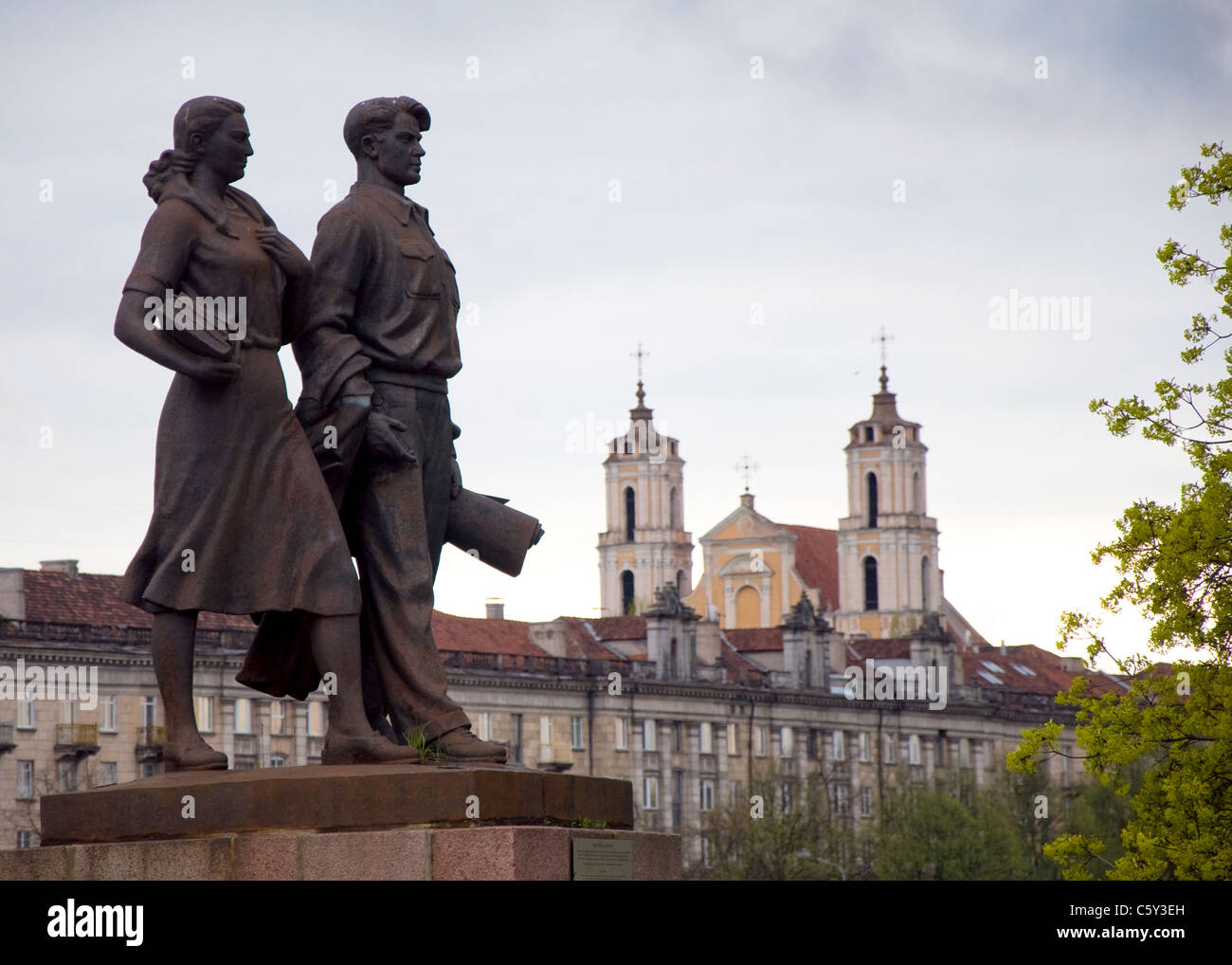 Soviet Statues on the Green Bridge, Vilnius, Lithuania - Stock Image