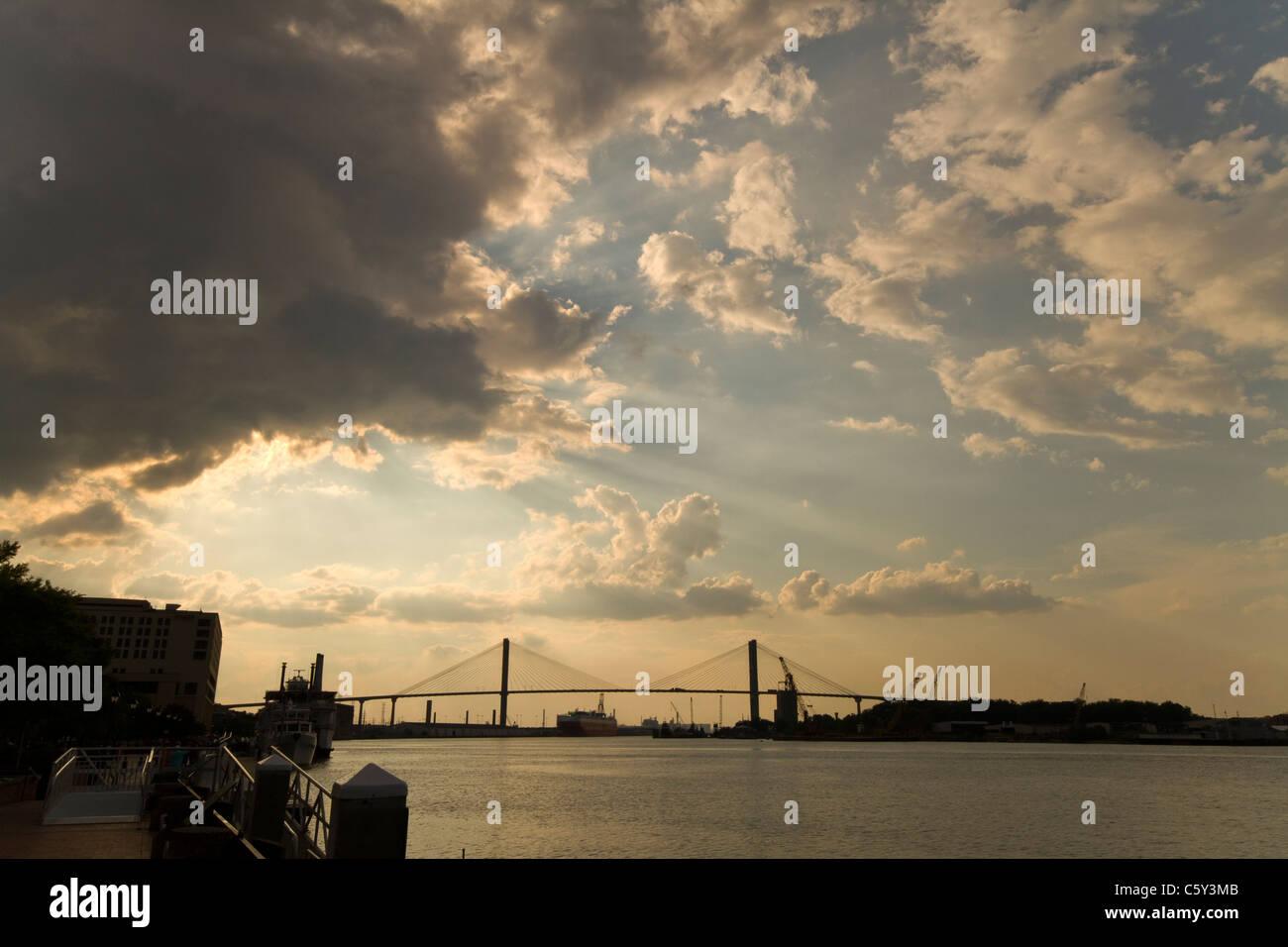 Sunset in Savannah GA - Stock Image