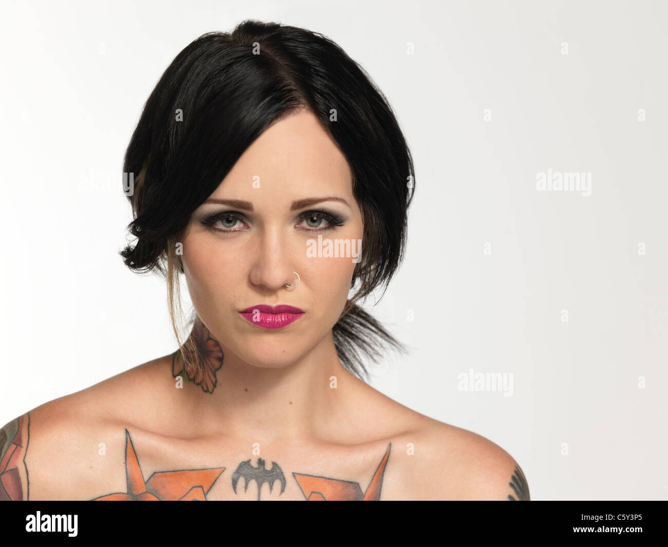 Portrait of girl with tattoos Stock Photo