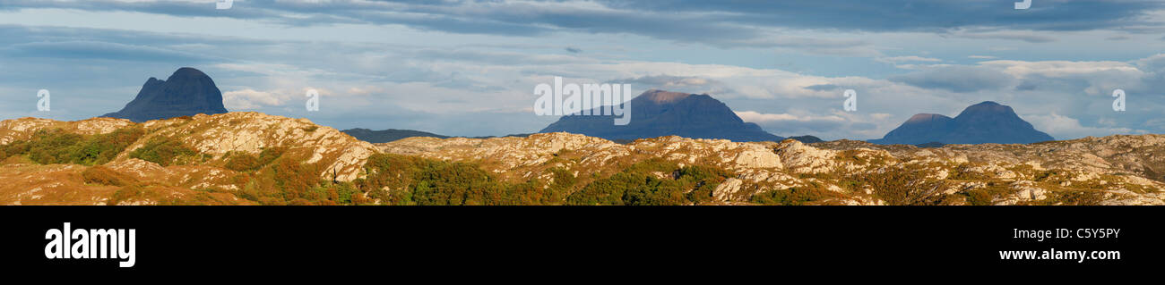 Mountain panorama in Sutherland, Highland, Scotland, UK. L to R, Suilven, Cul Mor, Cul Beag. - Stock Image