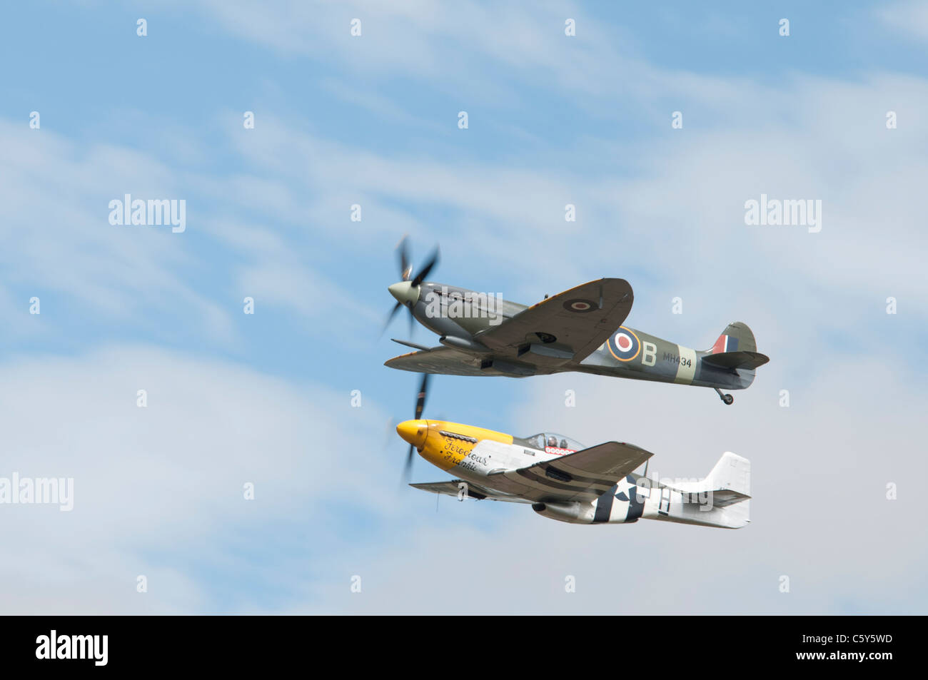 British Supermarine Spitfire Mark IXB number MH434 ( built in 1943) and North American P-51D Mustang ' Ferocious Stock Photo