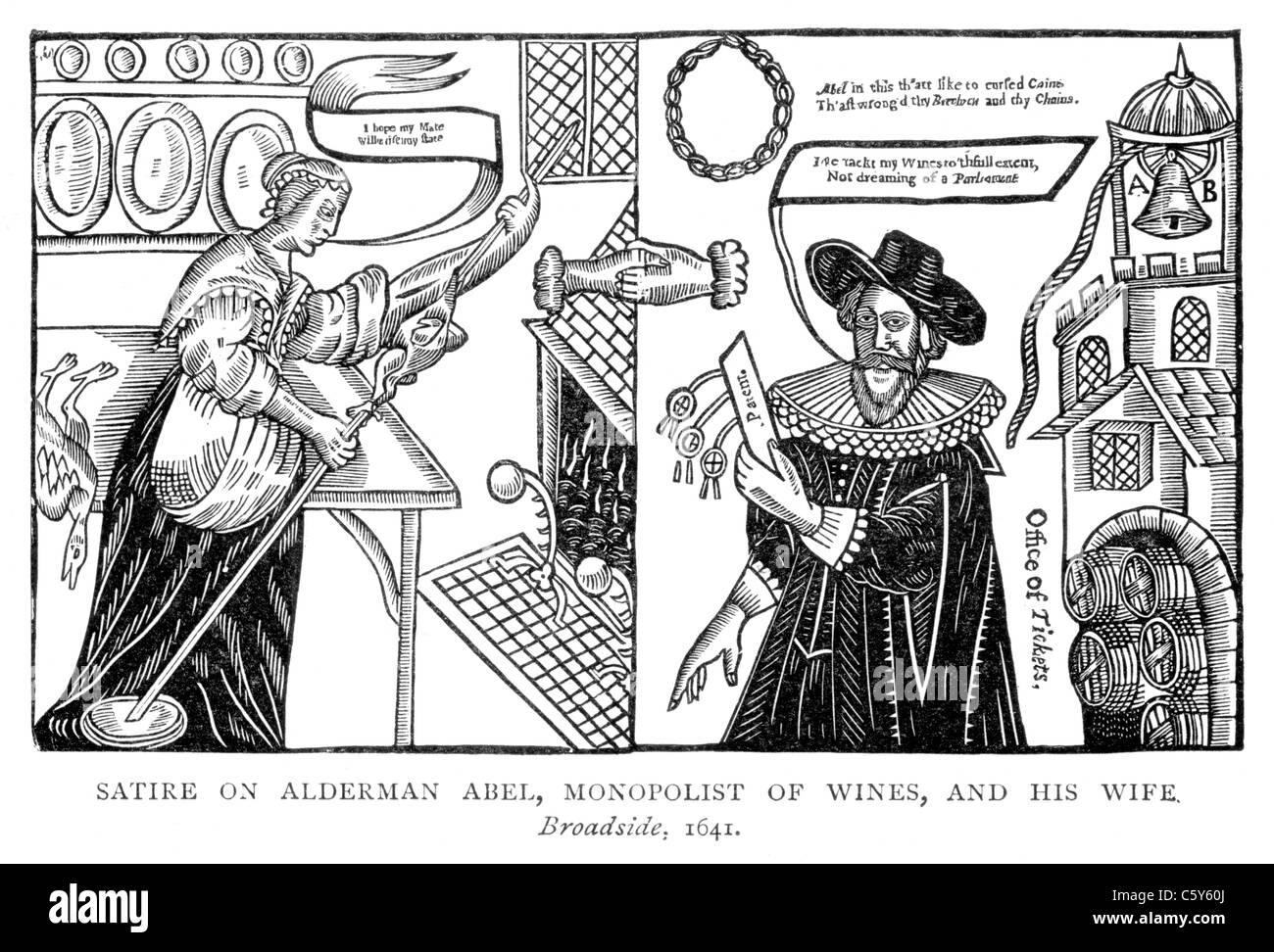 Satire on Alderman Abel, Monopolist of Wines and his Wife; Broadside 1641; Black and White Illustration; - Stock Image