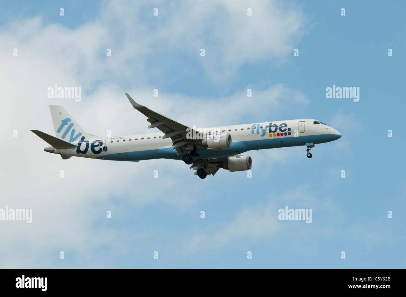 Embraer 195 twinjet G-FBEG from British commercial airline FlyBe makes a fly pass at the 2011 International Air - Stock Image
