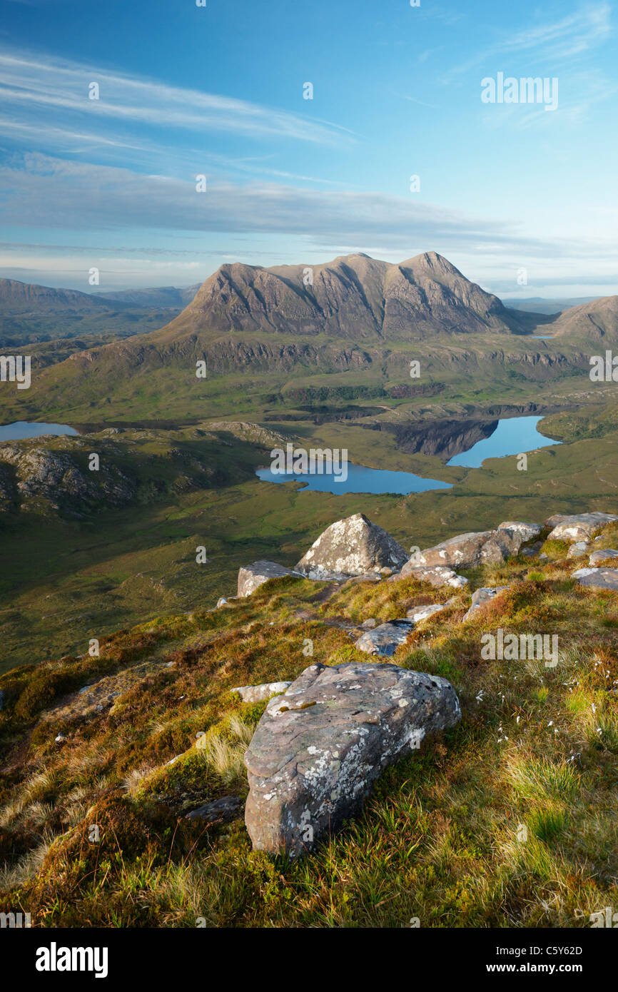 Cul Mor viewed from Stac Pollaidh, Inverpolly, Ross and Cromarty, Highland, Scotland, UK. - Stock Image