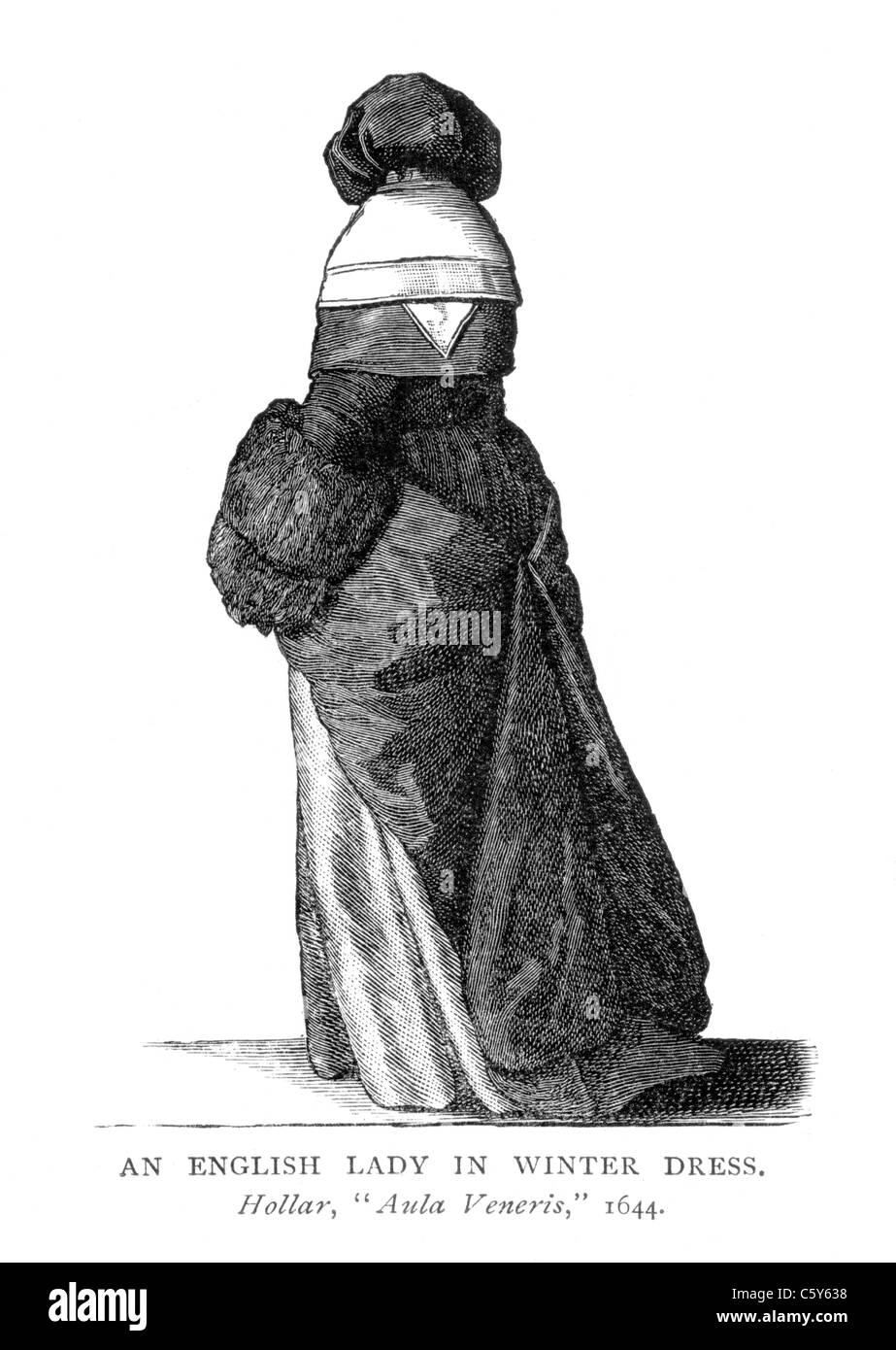 An English Lady in Winter Dress from 'Aula Veneris' by Wenceslaus Hollar, 1644; Black and White Illustration; - Stock Image