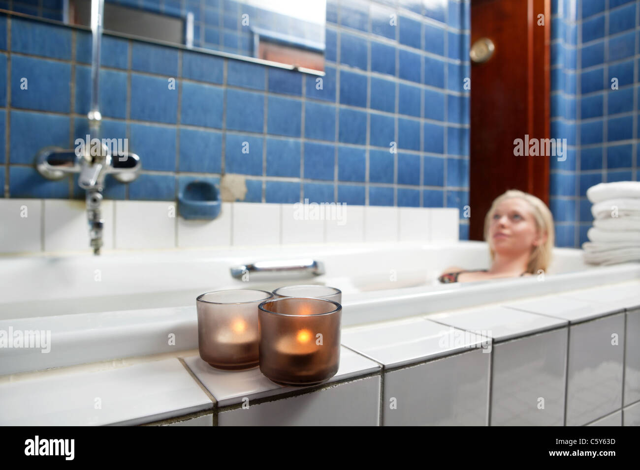 Woman Bath Relax Candles Stock Photos & Woman Bath Relax Candles ...