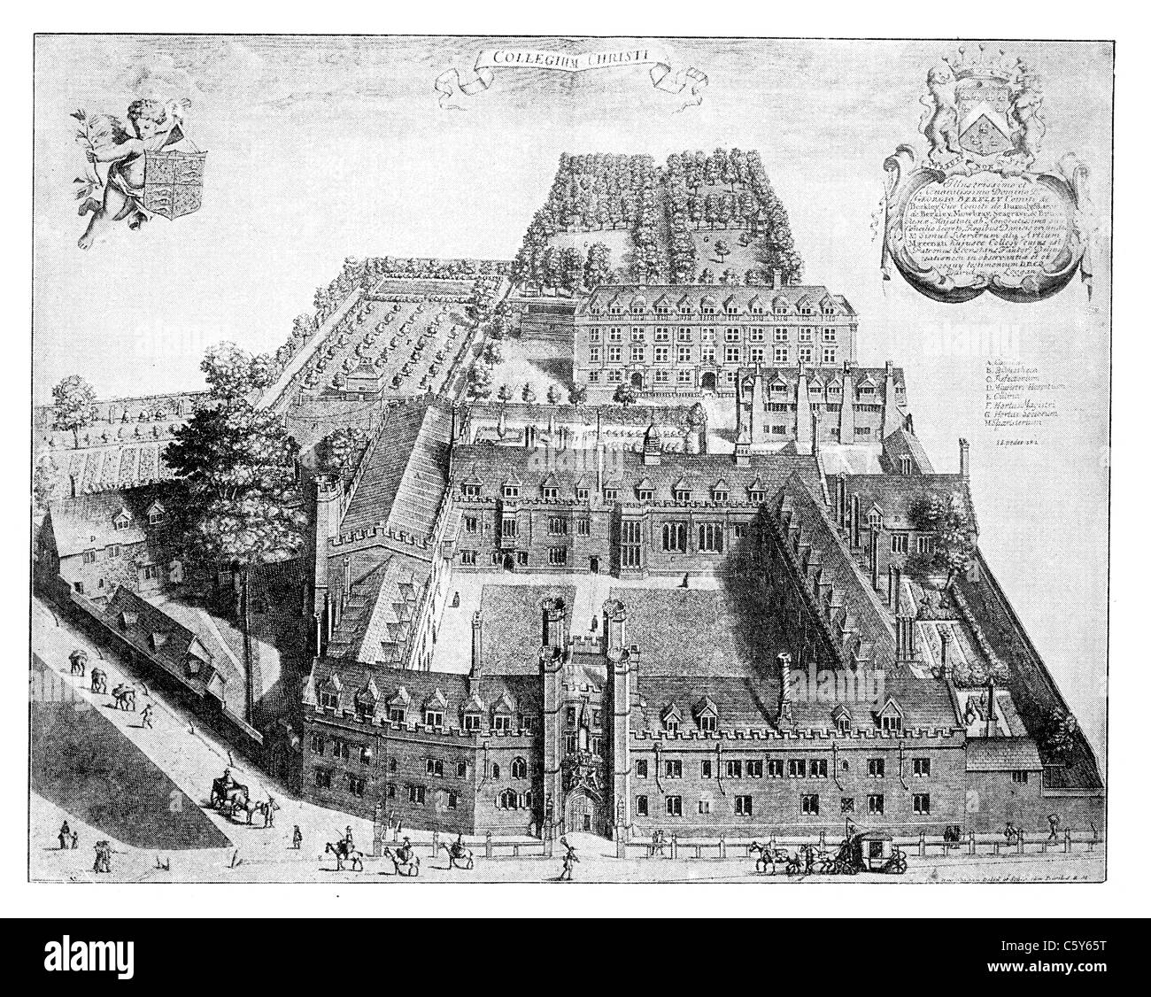 Christ's College, Cambridge in the 17th Century, from Loggan, 'Cantabrigia Illustrata'; Bird's Eye - Stock Image