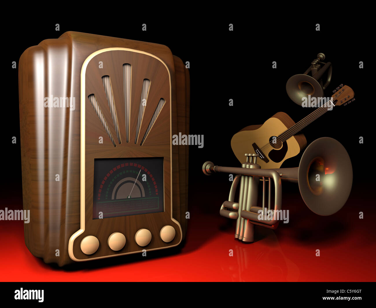 illustration of an old 1930s art deco style radio with trumpets and a stock photo 38091896 alamy. Black Bedroom Furniture Sets. Home Design Ideas
