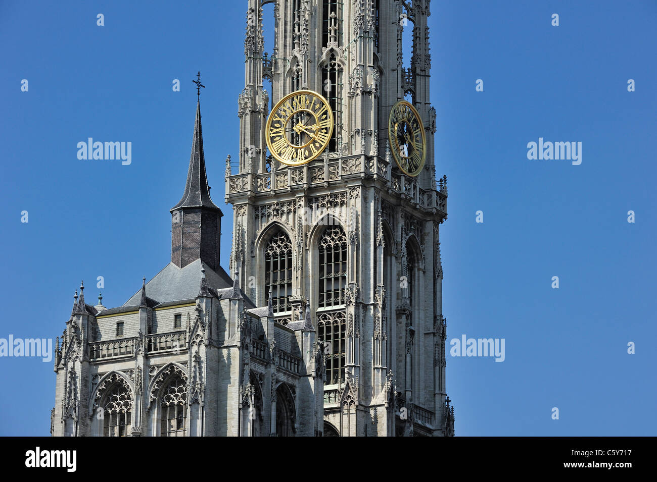 Tower of the Gothic Roman Catholic Cathedral of Our Lady in Antwerp showing flying buttresses and flamboyant tracery, - Stock Image