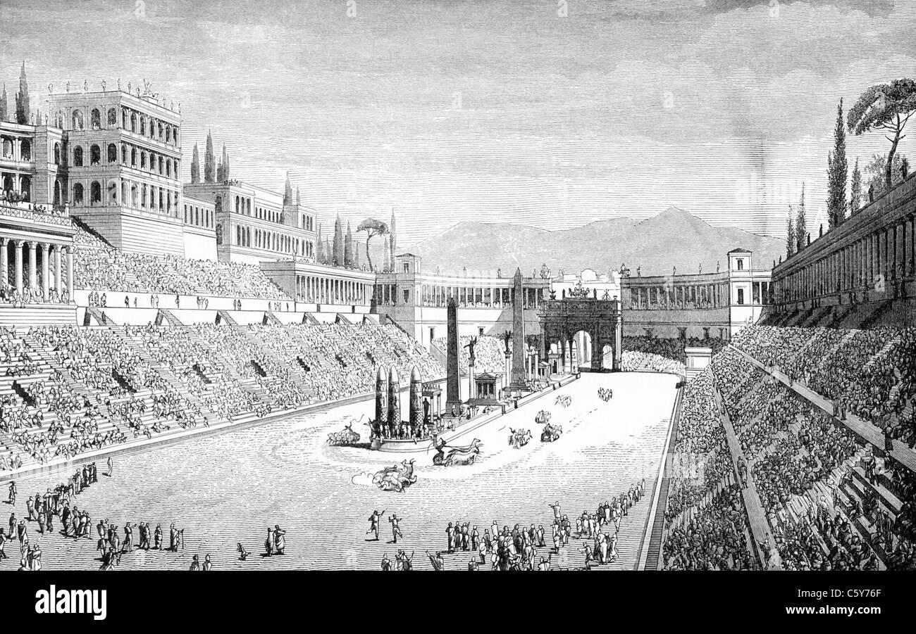 Ancient Roman chariot race in Circus Maximus - Stock Image