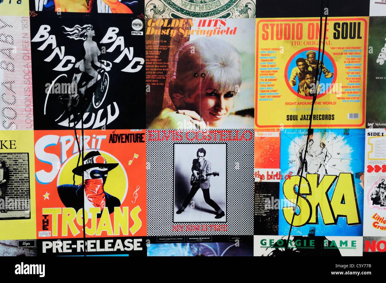 Vinyl LP Album Covers on the Portobello ReCollection Wall, Portobello Road, Notting Hill, London, England, UK - Stock Image