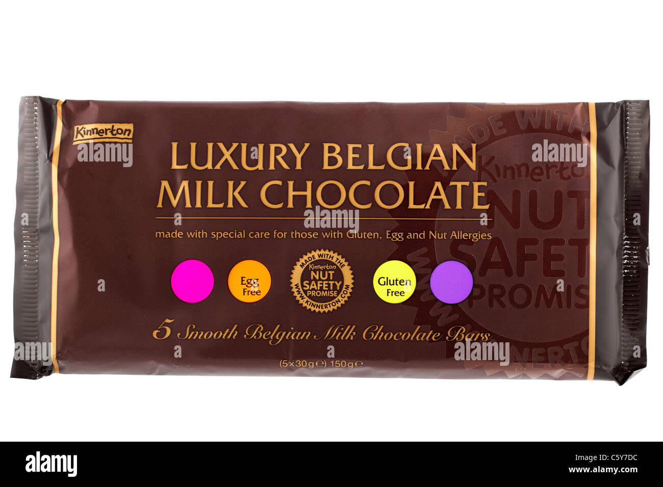 Kinnerton multipack of 5 30 gram bars of nut safety promise Belgian milk chocolate. - Stock Image
