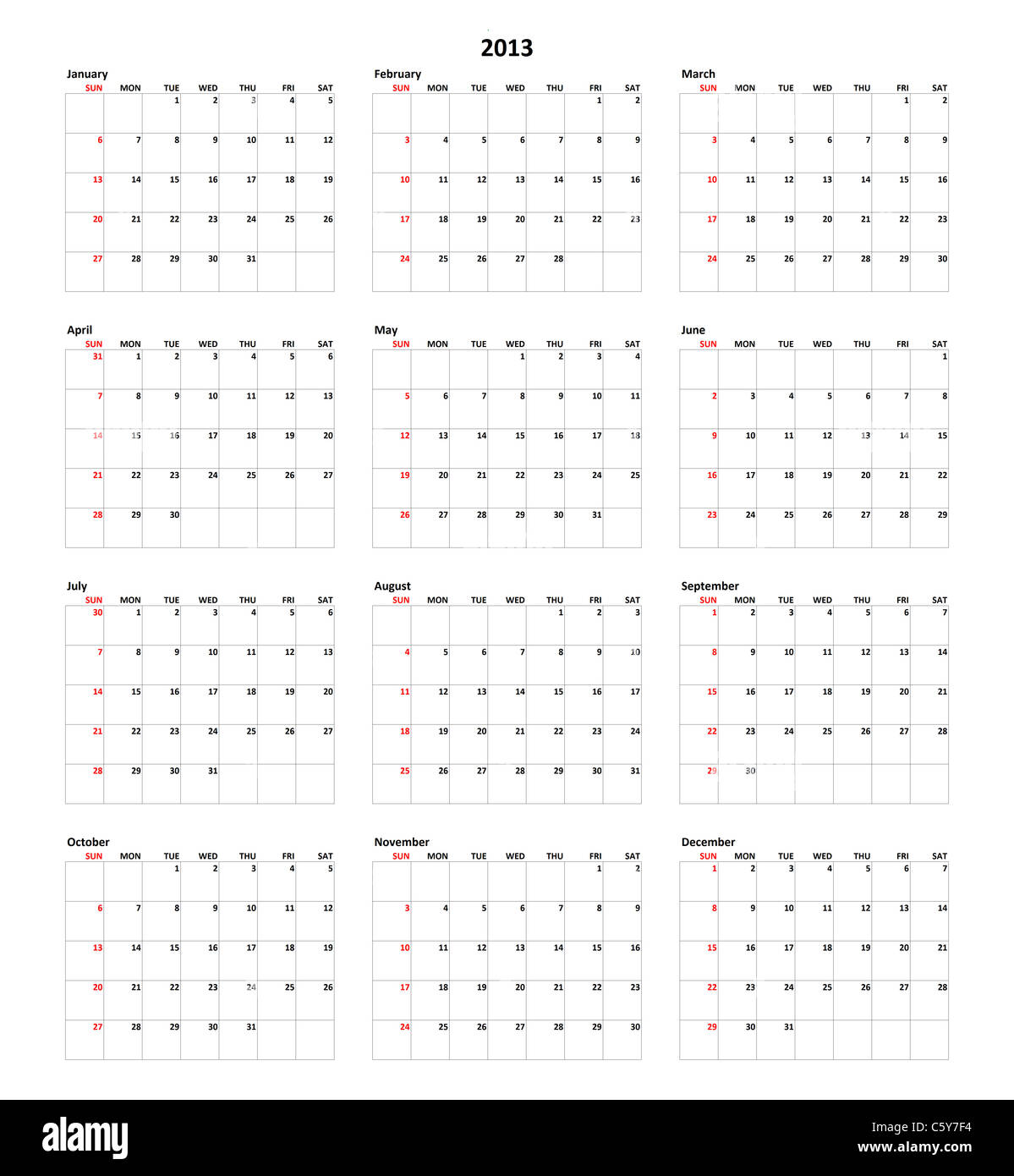 Simple Calendar for year 2013 - Stock Image