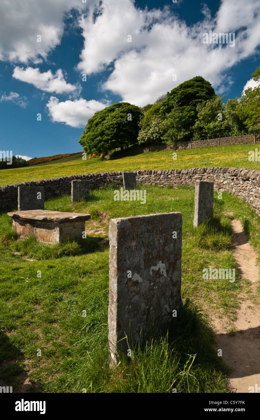 The Riley Graves are where the Hancock family, victims of the 1666 plague outbreak near Eyam, are buried, Peak District, - Stock Image