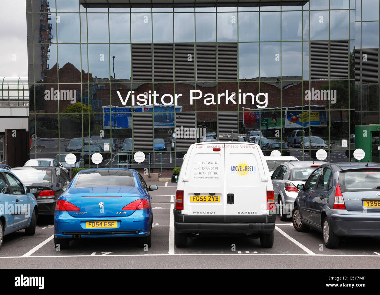 A car park at business premises in Nottingham, England, U.K. - Stock Image