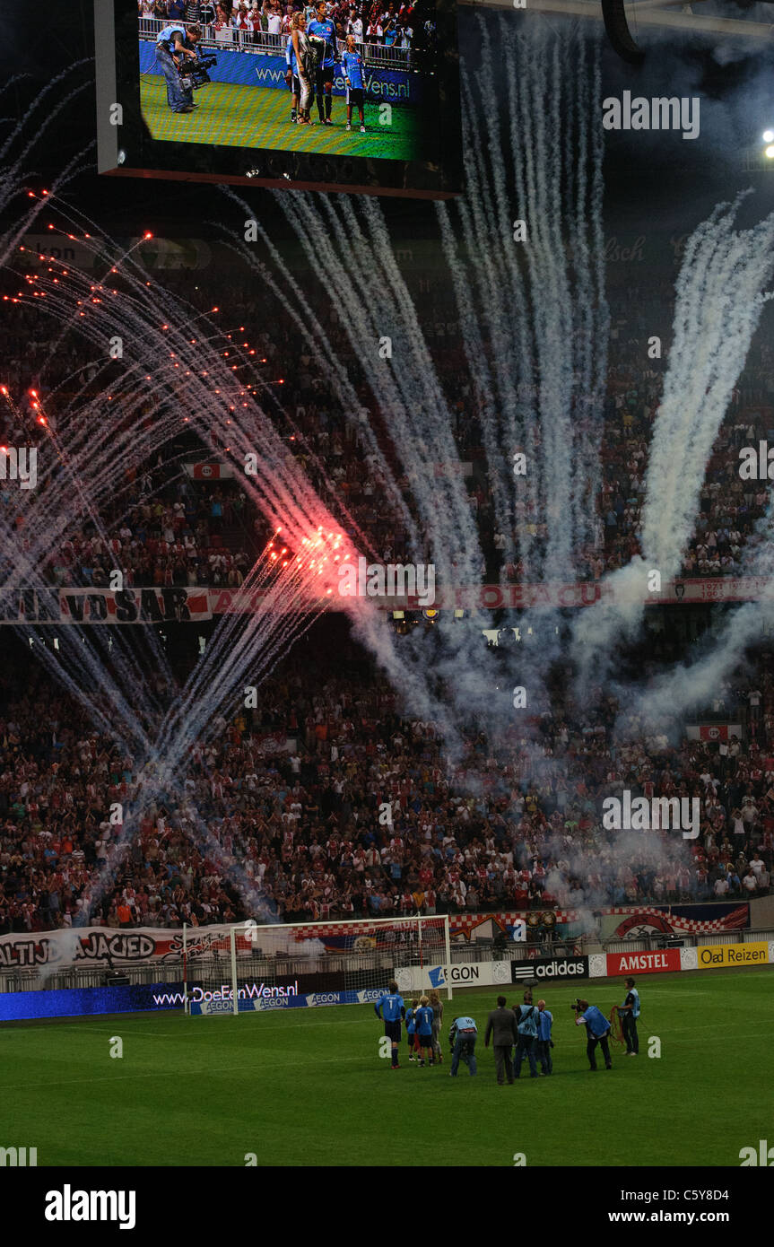 Fireworks after the Edwin van der Sar farewell game in Amsterdam on 3 August 2011 - Stock Image