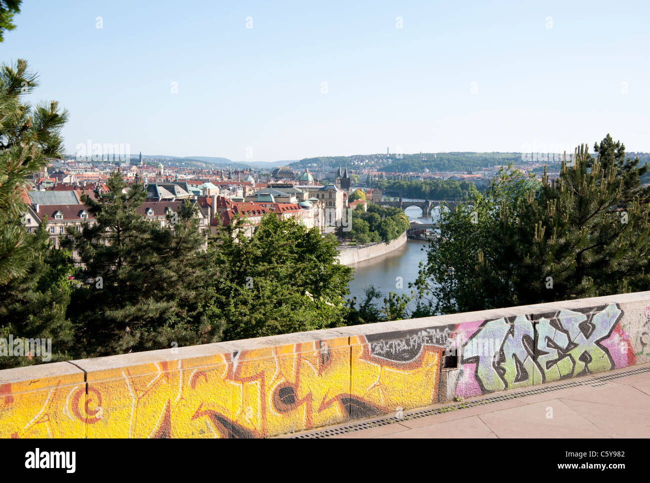 Modern-day Prague: a blend of history and modernity - Stock Image