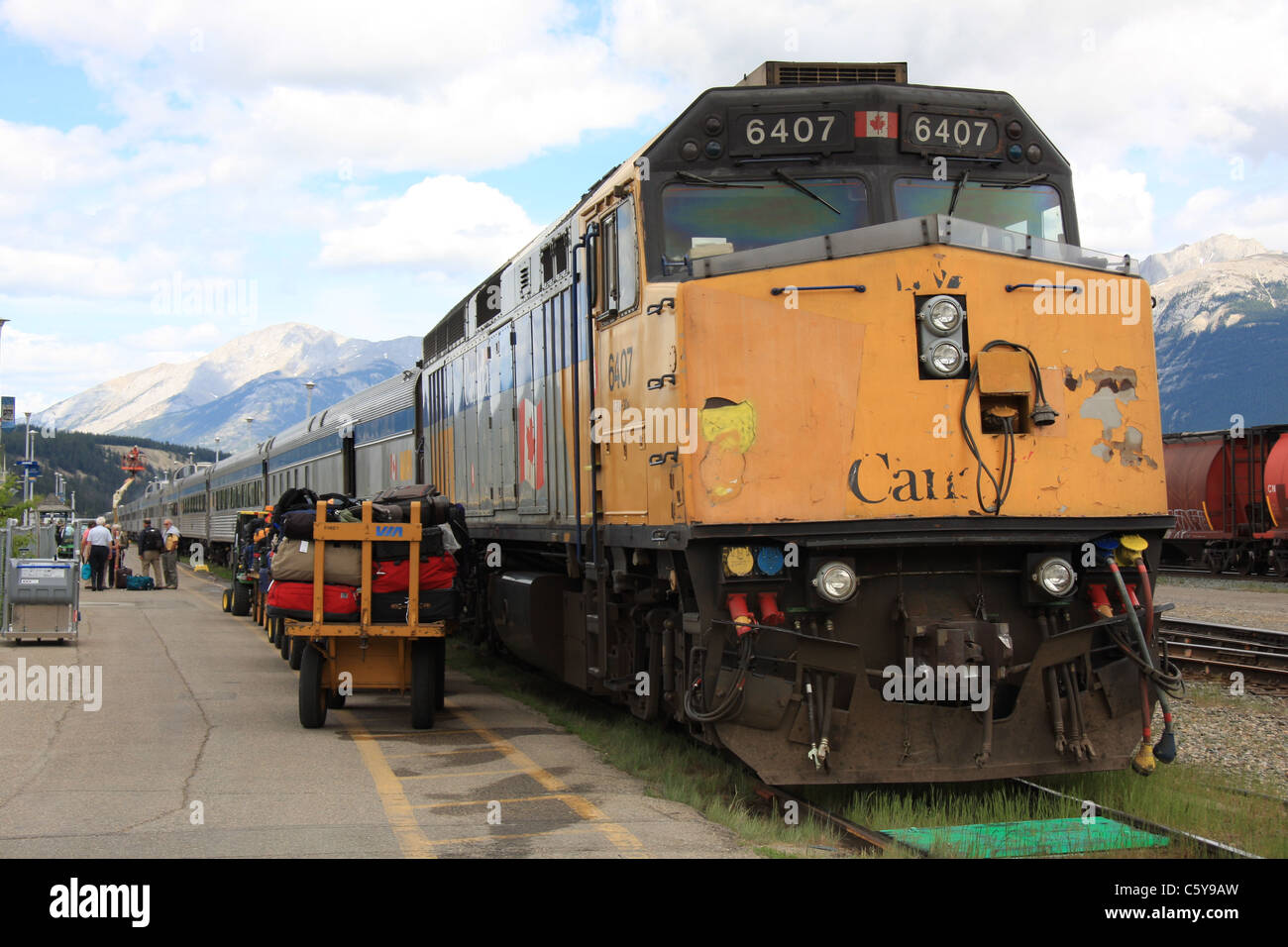 The Canadian, a train that travels the breadth of Canada, at Jasper train station - Stock Image