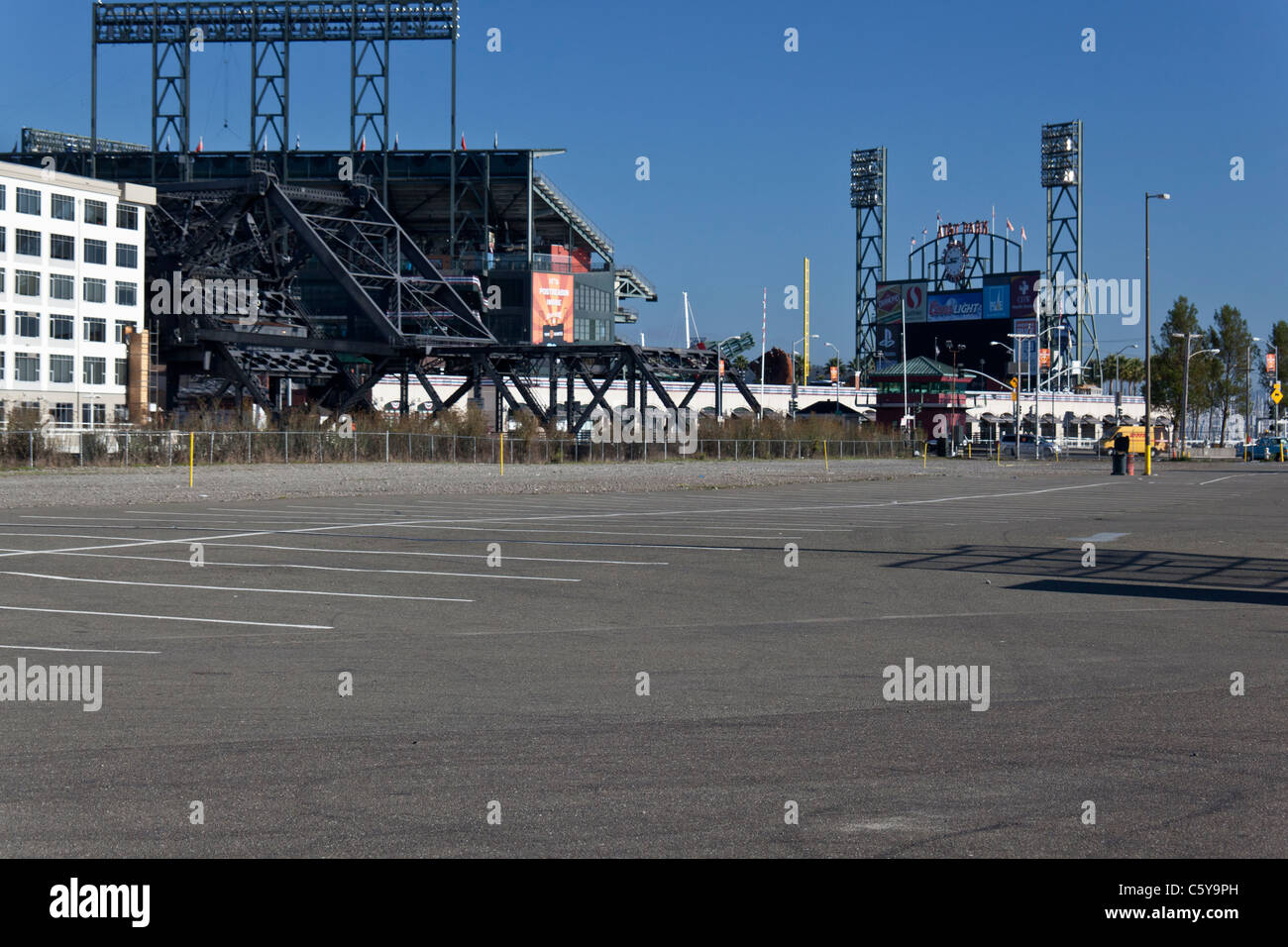 Parking lot by AT&T Park, home of the San Francisco Giants, on the morning of the day they won the 2010 World - Stock Image