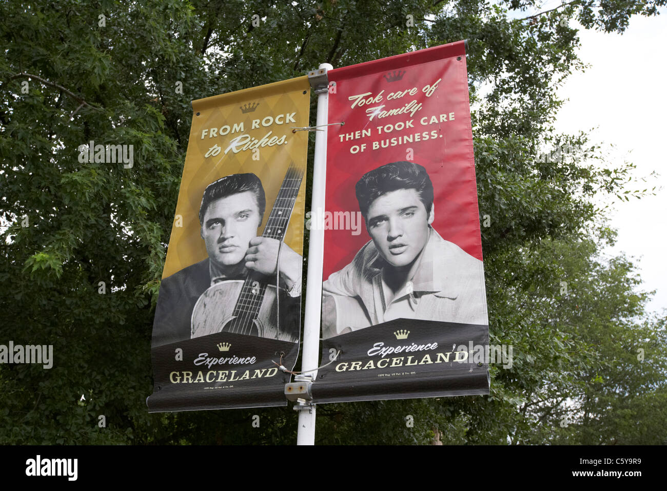 posters and banner adverts for graceland featuring elvis presley memphis tennessee usa - Stock Image
