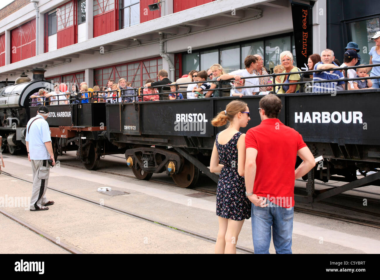 The old Bristol Harbour steam Train outside the M Shed on Festival Day - Stock Image