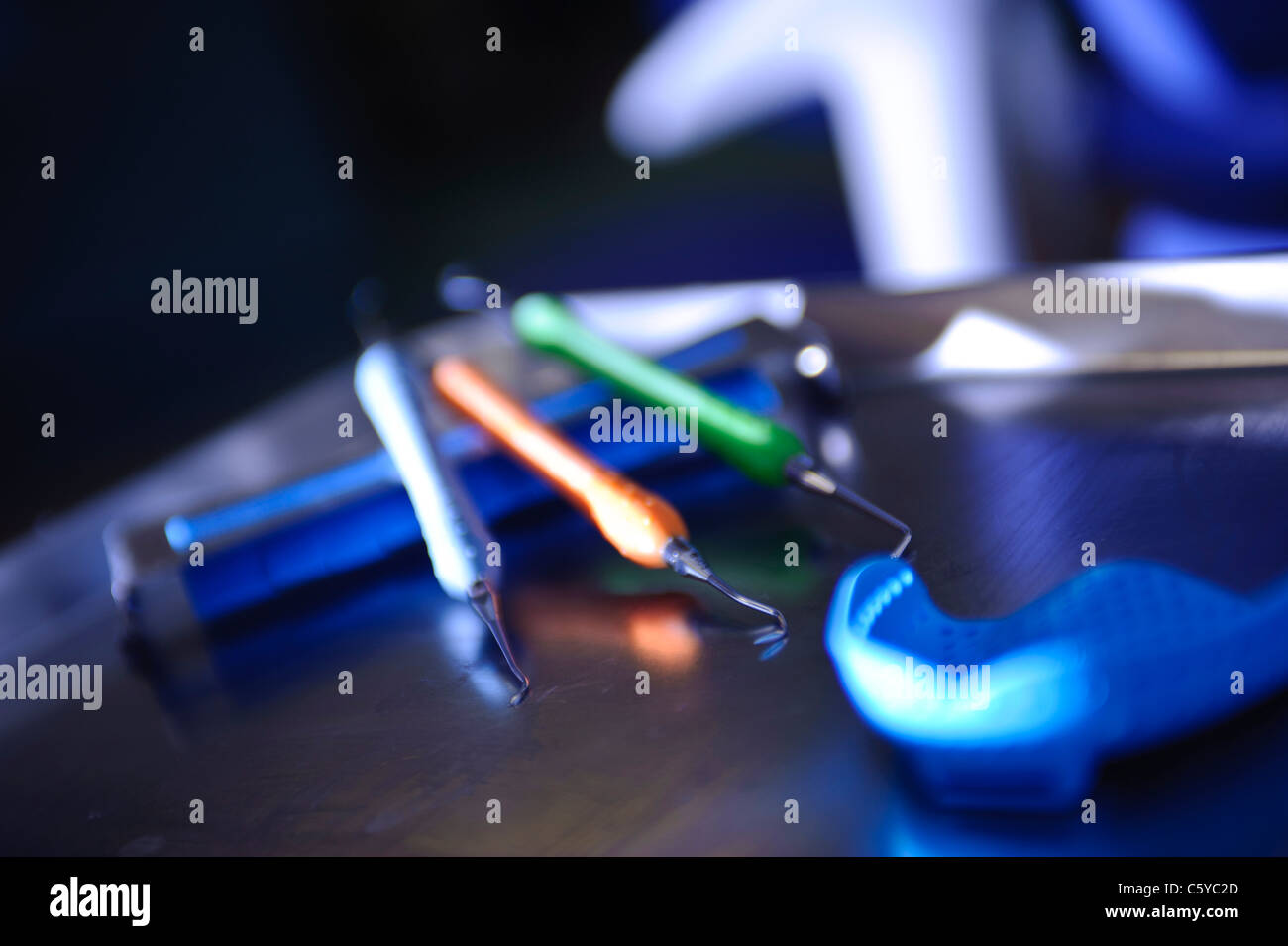 Sharp pointed sickle contra angled dental probes for dentists and gum shield - Stock Image