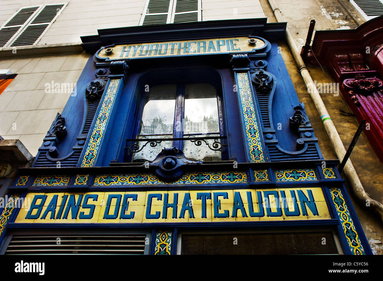 Old sign for baths in Paris, France - Stock Image