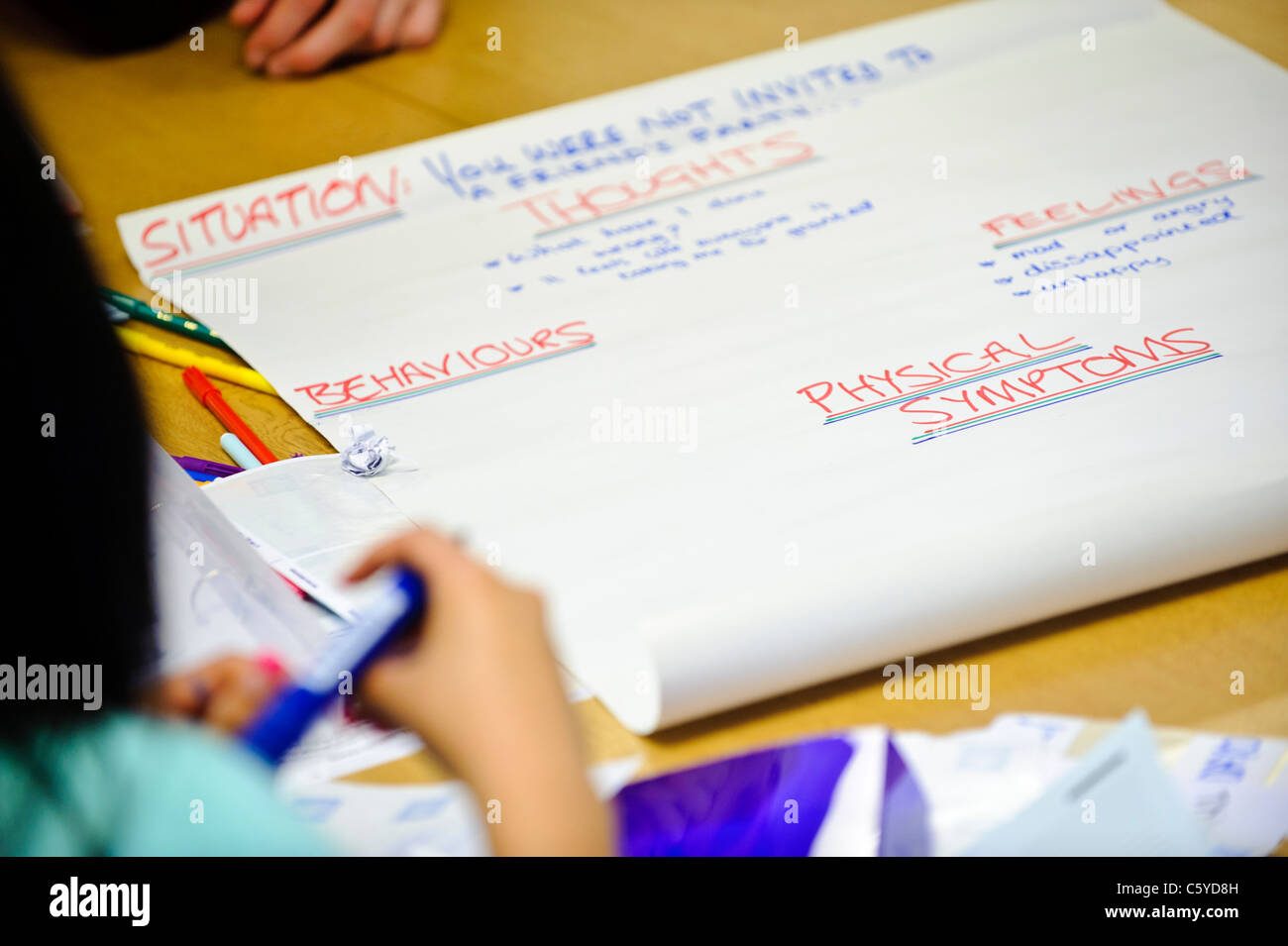 large sheet of flip chart paper showing emotive words like thoughts and feelings in a classroom setting - Stock Image