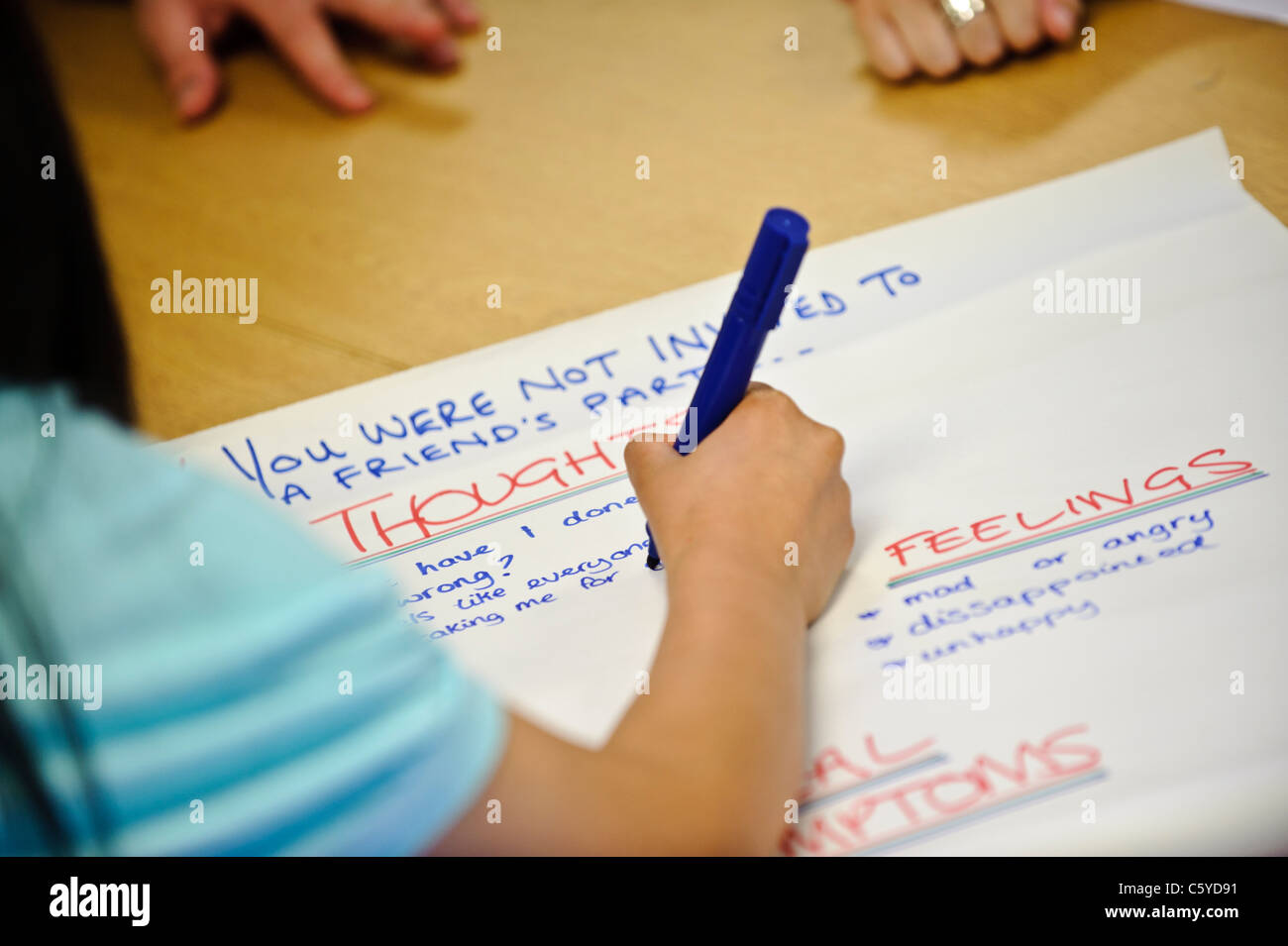 pen writing on large sheet of flip chart paper the words thoughts and feelings in a classroom setting - Stock Image