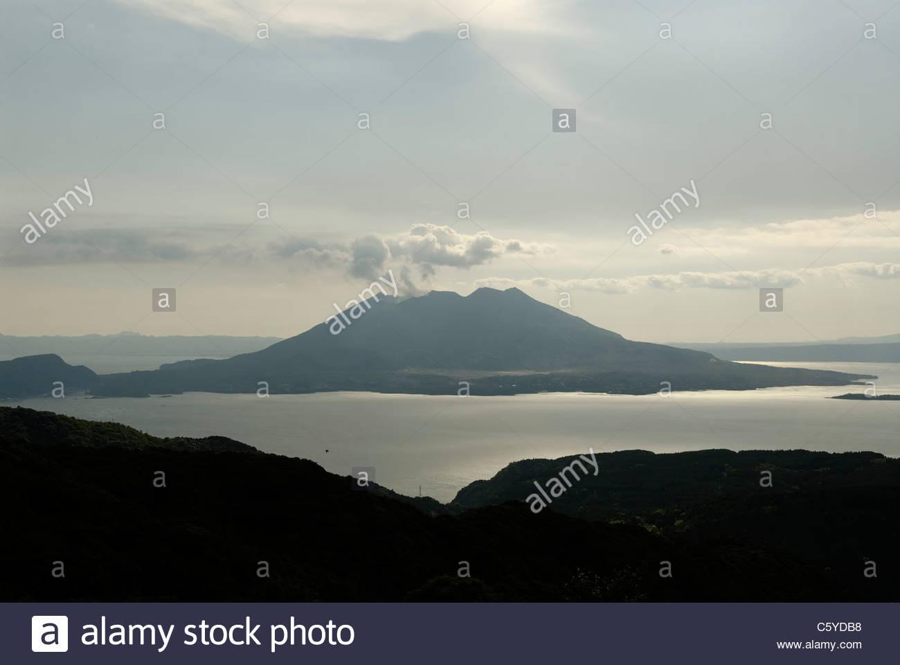 volcano Sakurajima near Kagoshima on Kyushu - Stock Image