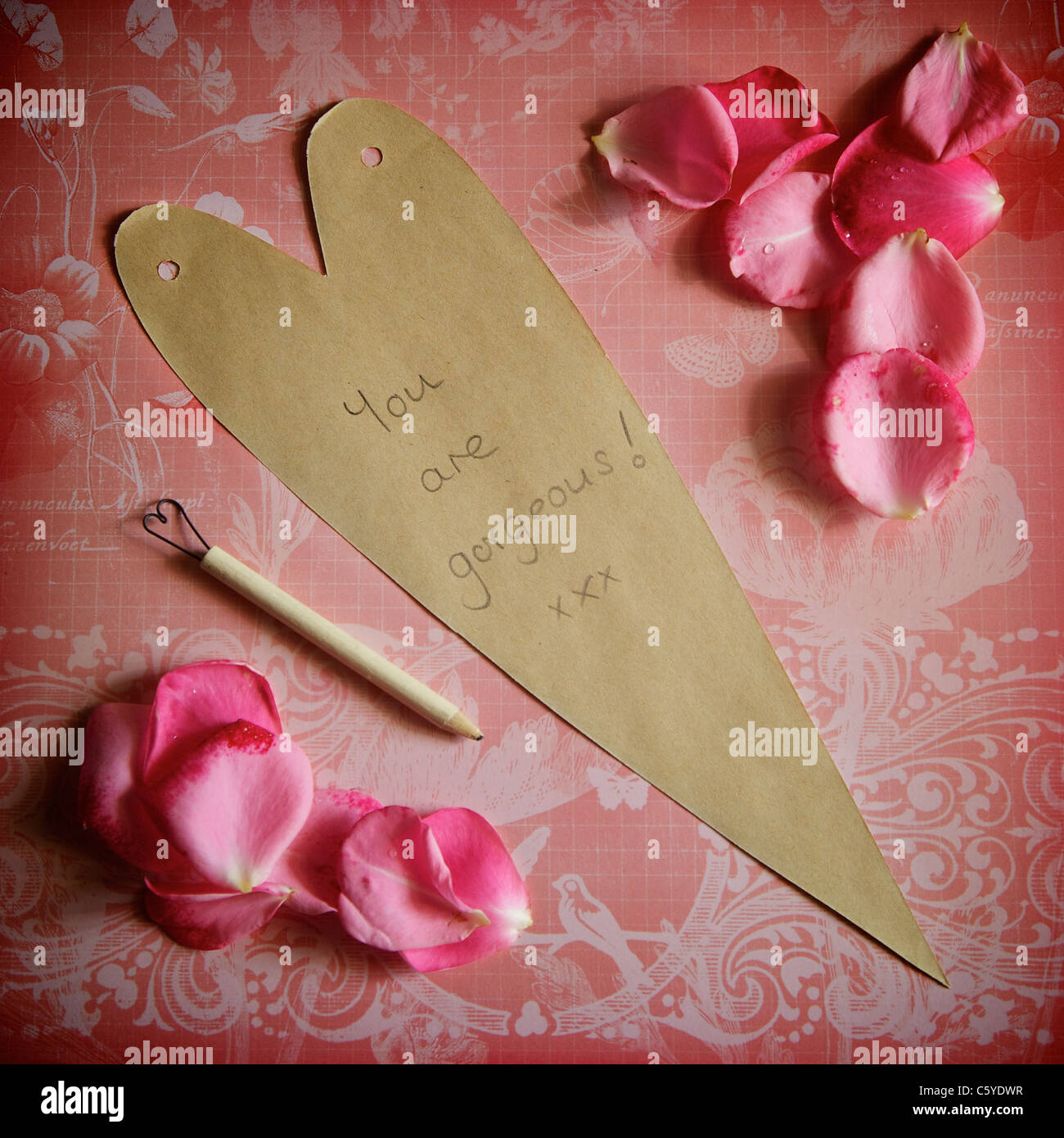 Love letter 'You are Gorgeous'! - Stock Image