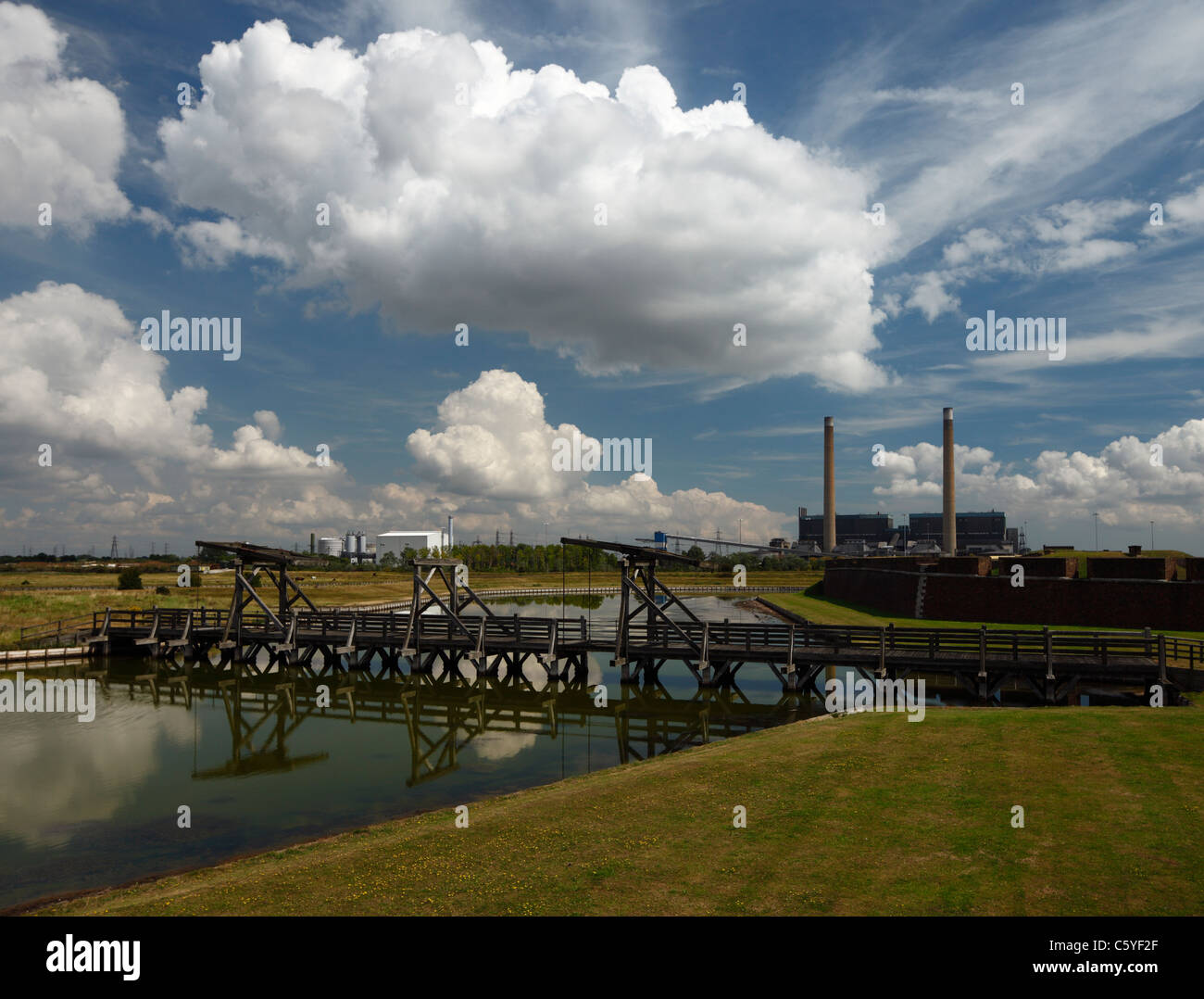 Tilbury Fort inner moat and lifting bridges. - Stock Image