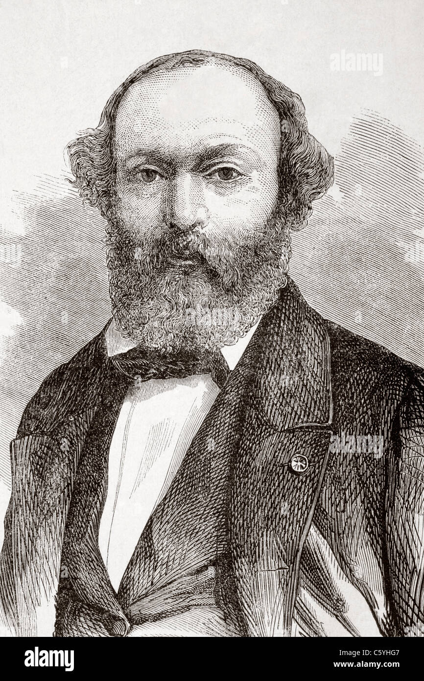 Pierre Étienne Théodore Rousseau, 1812 - 1867. French painter of the Barbizon school. - Stock Image