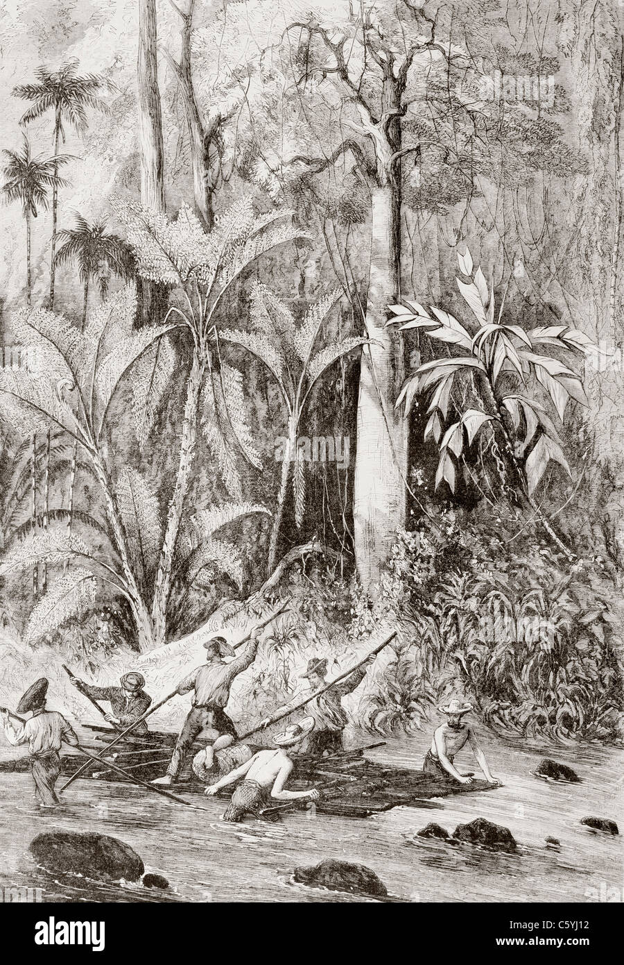 Expedition of 1867 searching for a route through Nicaragua for a trans-oceanic canal, led by Englishman Captain - Stock Image