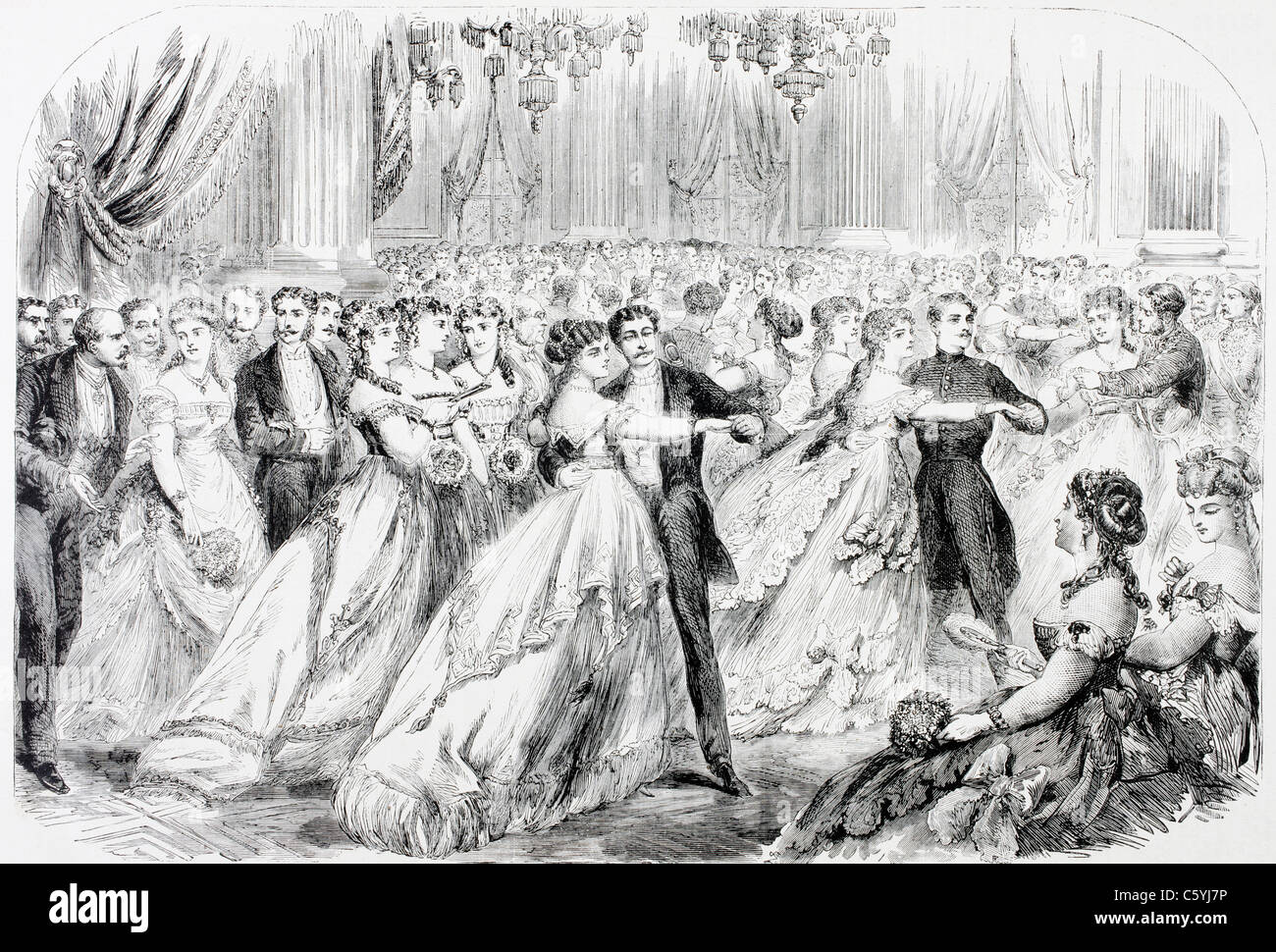 A society ball in Paris in the 1860's. - Stock Image