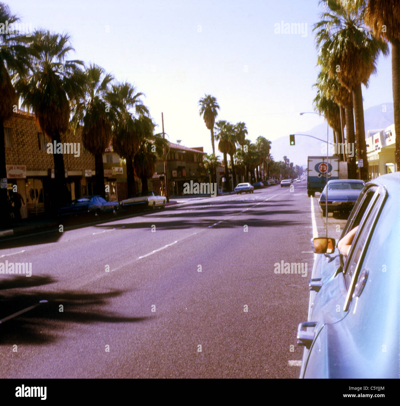 Palm tree lined street California 1973 - Stock Image