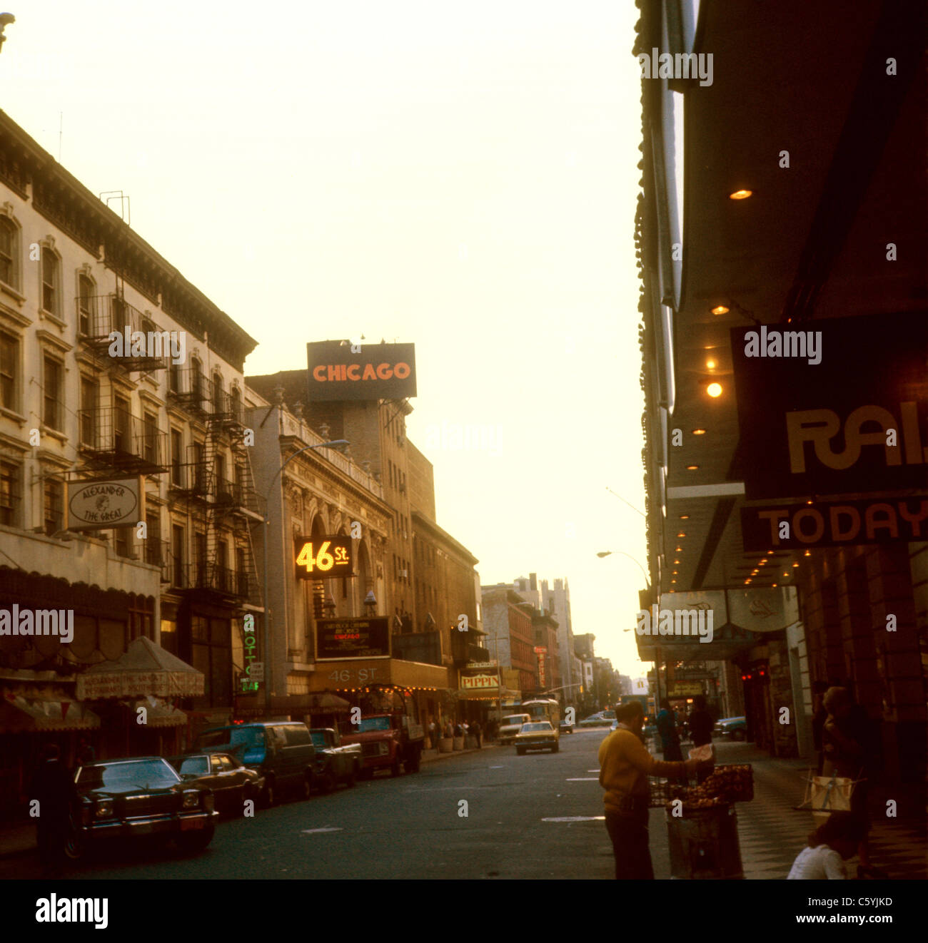 New York City Times Square street scene 1975 Chicago ad 46th street pippin Alexander the Great Broadway - Stock Image